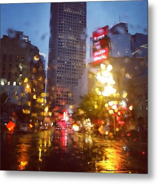 Downtown Rain Metal Print