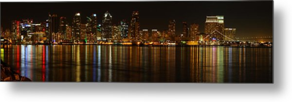 Downtown San Diego At Night From Harbor Drive Metal Print