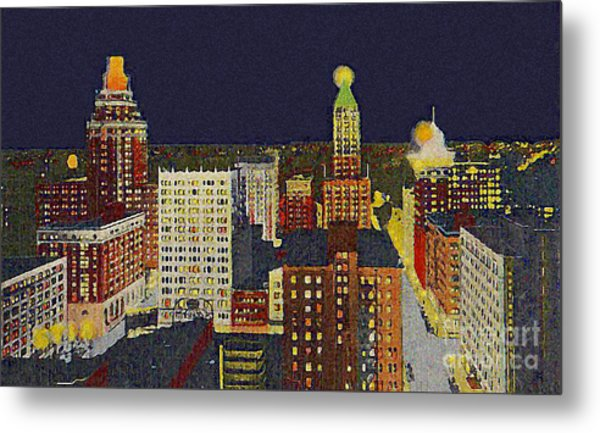Downtown Tulsa At Night Around 1940 Metal Print