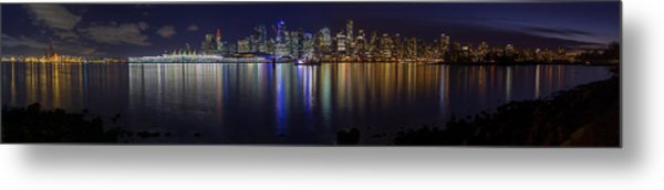 Downtown Vancouver Skyline By Night Metal Print