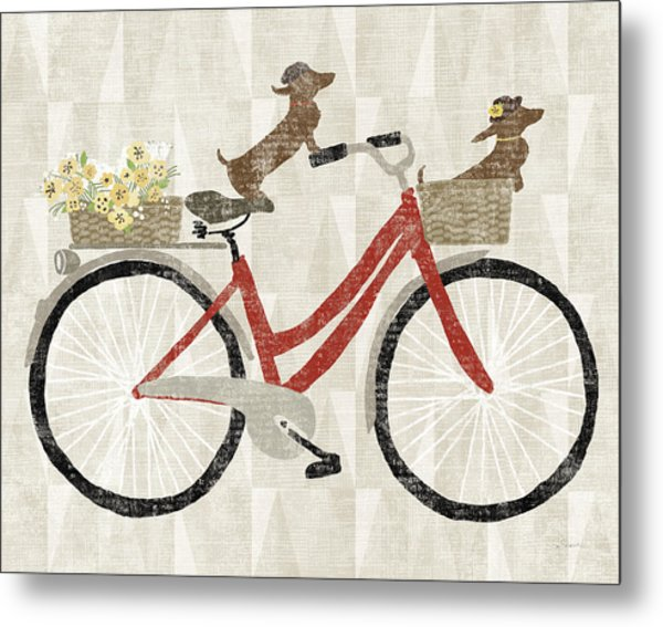 Doxie Ride Ver I Red Bike Metal Print