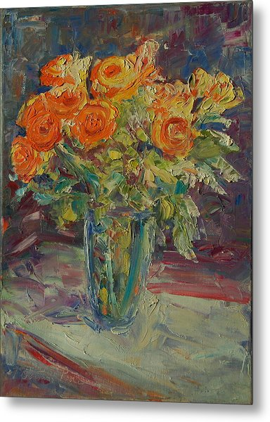 Dozen Orange Roses Metal Print