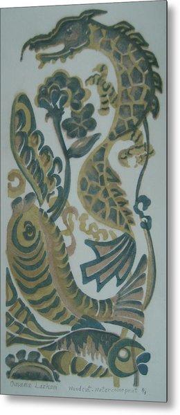 Dragon And Fish Metal Print