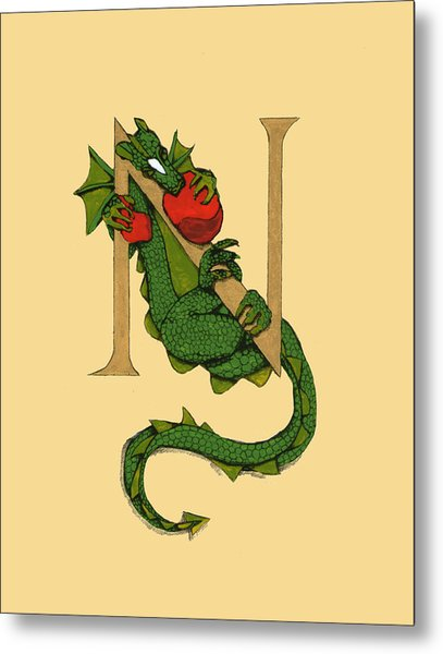 Dragon Letter N Metal Print