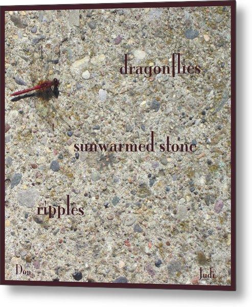 Dragonflies Haiga Metal Print
