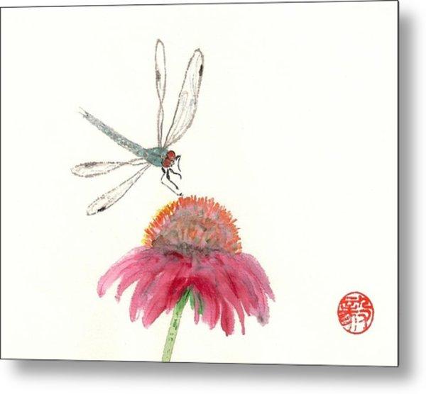 Dragonfly Flower Metal Print