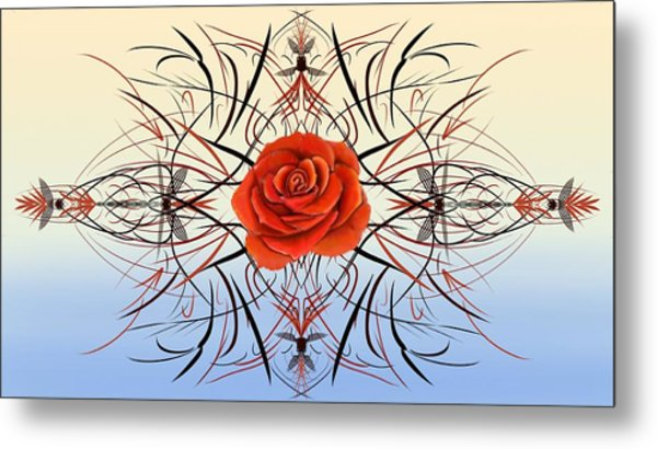 Dragonfly Rose Metal Print