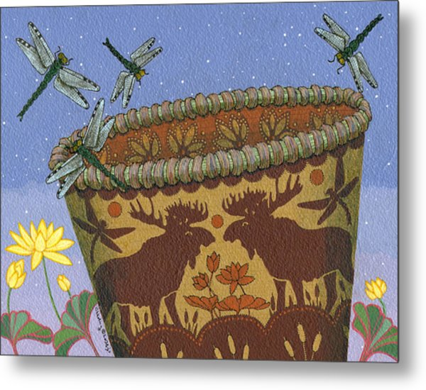 Metal Print featuring the painting Dragonfly - Cohkanapises by Chholing Taha