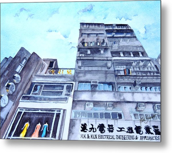 Drama Above The Street Level Shops Hongkong Metal Print by Ruth Bodycott