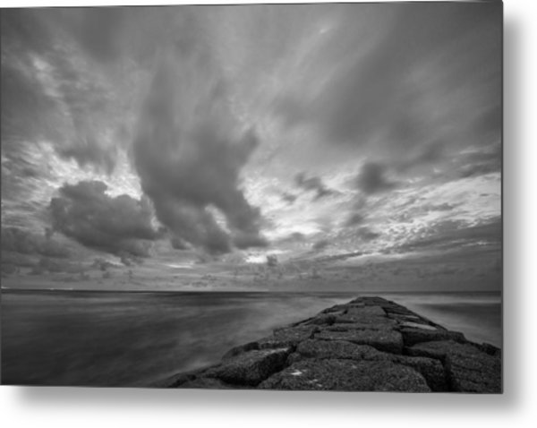 Metal Print featuring the photograph Dramatic Skies Over Galveston Jetty by Todd Aaron