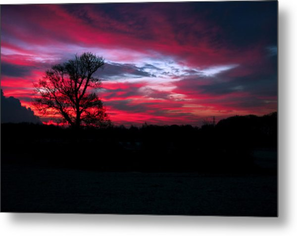 Dramatic Sky At Daybreak. Metal Print