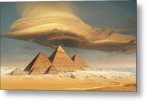 Dramatic Storm Cloud Above Pyramids Metal Print by Jimpix