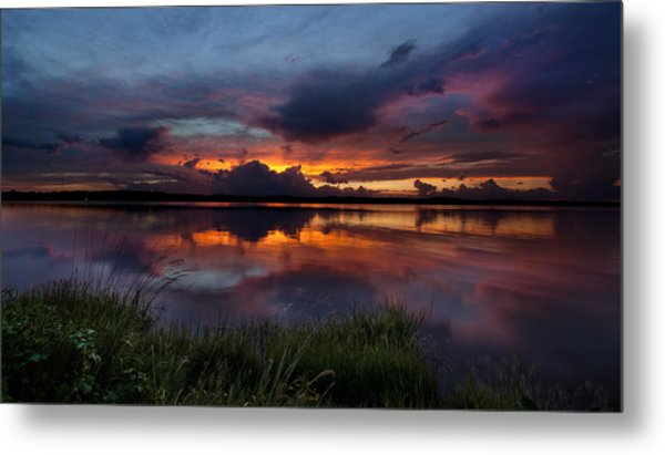 Dramatic Sunset At The Lake Metal Print