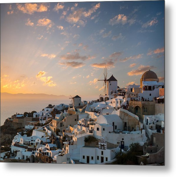 Dramatic Sunset Over The Windmills Of Oia Village In Santorini Metal Print