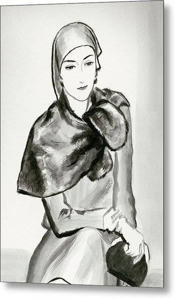 Drawing Of A Woman Wearing A Lucien Lelong Metal Print