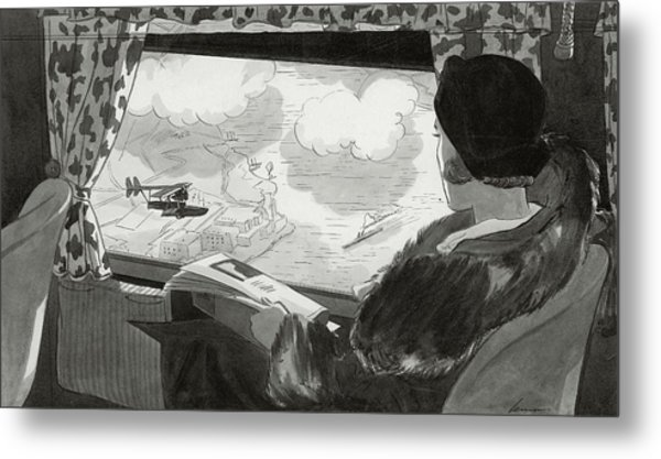 Drawing Of Female Passenger Flying Over Havana Metal Print