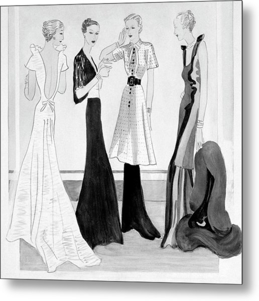 Drawing Of Four Well-dressed Women Metal Print by Eduardo Garcia Benito