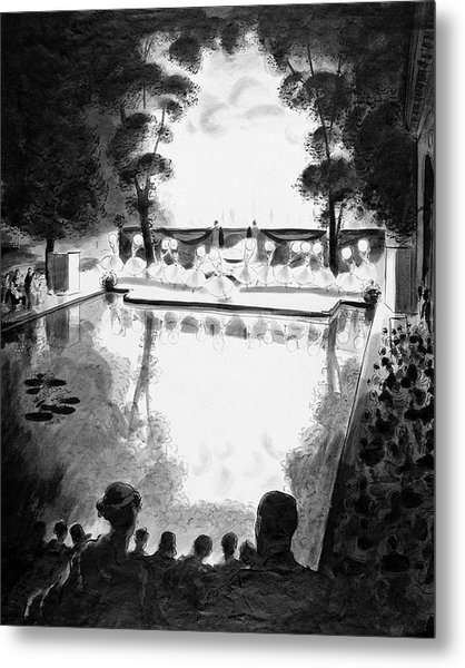 Drawing Of The Gala Blanc At The Fauchier-magnan Metal Print by Jean Pages
