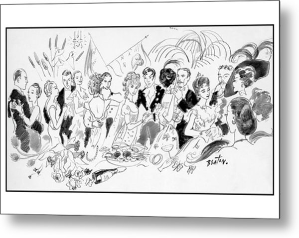 Drawing Of The London Society Dancing Night Away Metal Print by Cecil Beaton