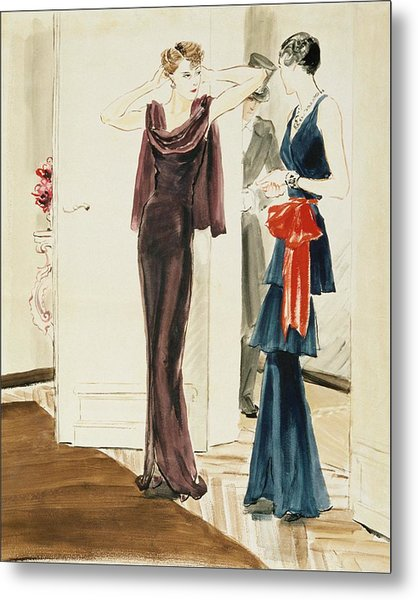 Drawing Of Two Women Wearing Mainbocher Dresses Metal Print
