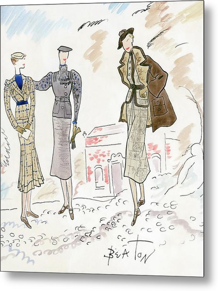 Drawing Of Women In Stylish Designer Outfits Metal Print by Cecil Beaton