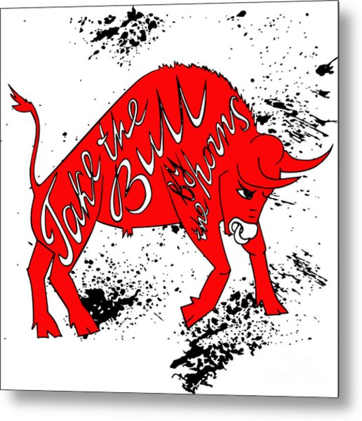 Drawing Red Angry Bull On The Grunge Metal Print by Ana Babii