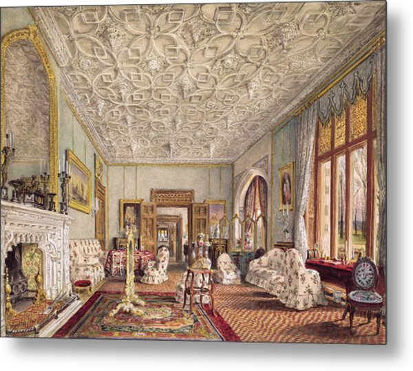 Drawing Room In The Gothic Style, C.1850 Metal Print