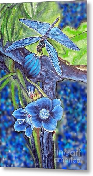 Dream Of A Blue Dragonfly Over Water Metal Print