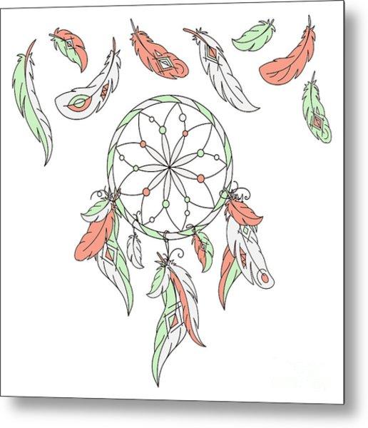 Dreamcatcher, Feathers. Vector Metal Print