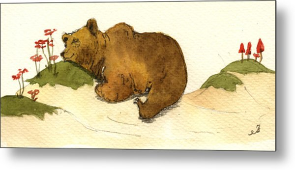 Dreaming Grizzly Bear Metal Print