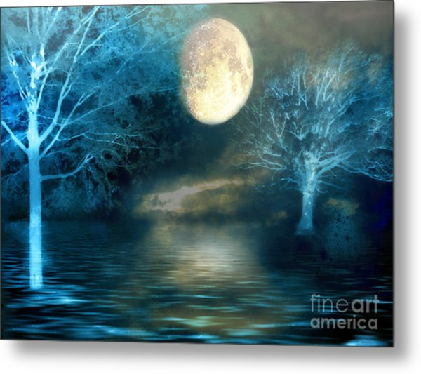 Dreamy Blue Moon Nature Trees - Surreal Full Blue Moon Nature Trees Fantasy Art Metal Print