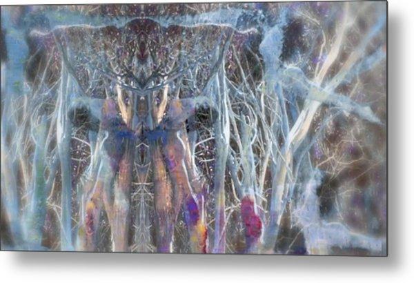 Dreamy Blue Up-dog Yoga Art Metal Print