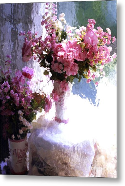 Dreamy Cottage Chic Impressionistic Flowers - Pink Roses Pink Vases Metal Print by Kathy Fornal