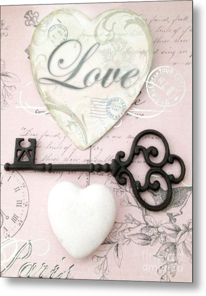 Dreamy Shabby Chic Romantic Valentine Heart Love Skeleton Key And Hearts Metal Print