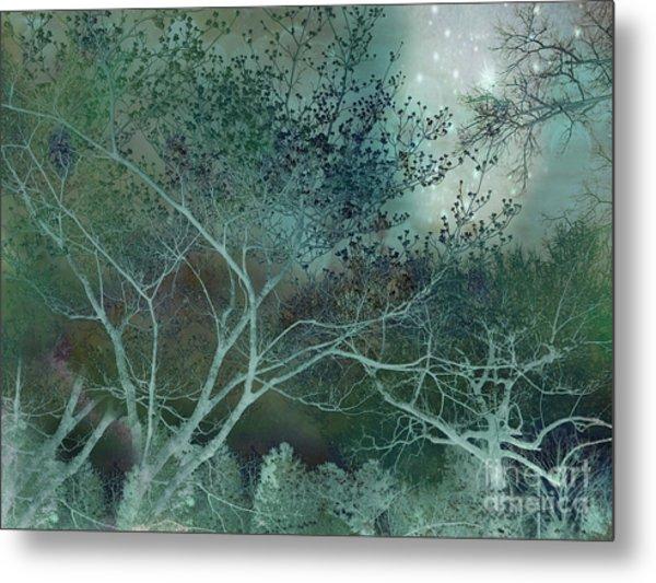 Dreamy Surreal Fantasy Teal Aqua Trees Nature  Metal Print