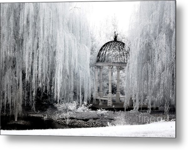 Dreamy Surreal Infrared Nature Ethereal Trees With Gazebo  Metal Print
