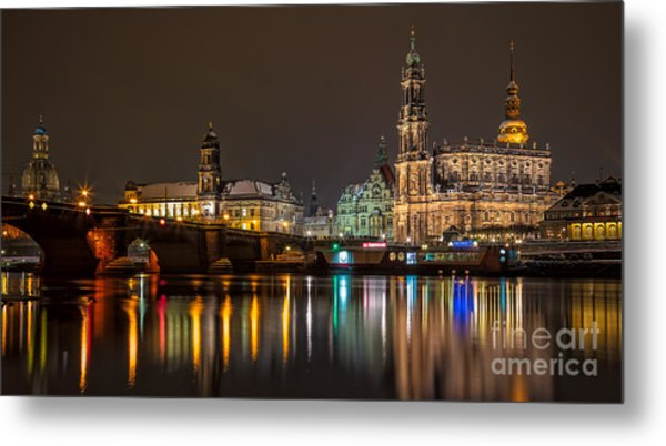 Dresden By Night Metal Print