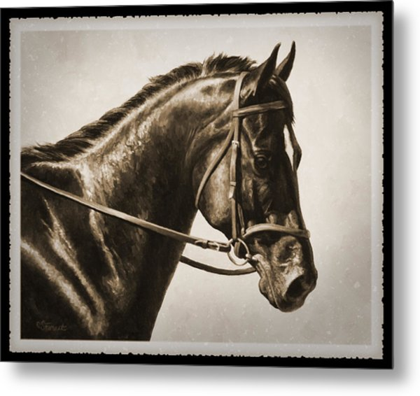 Dressage Horse Old Photo Fx Metal Print