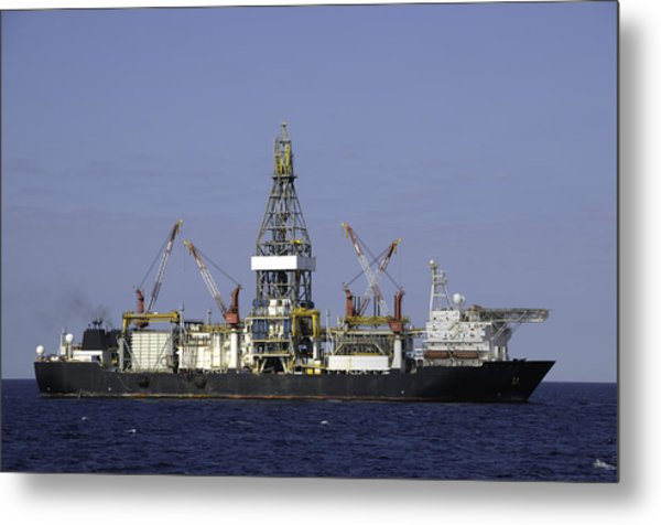 Drill Ship In Blue Ocean Metal Print