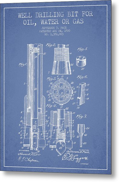 Drilling Bit For Oil Water Gas Patent From 1920 - Light Blue Metal Print