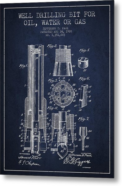 Drilling Bit For Oil Water Gas Patent From 1920 - Navy Blue Metal Print