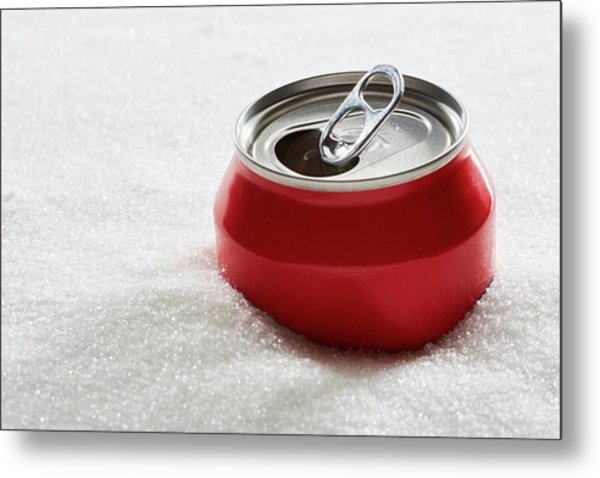 Drinks Can In Sugar Metal Print by Kevin Curtis/science Photo Library