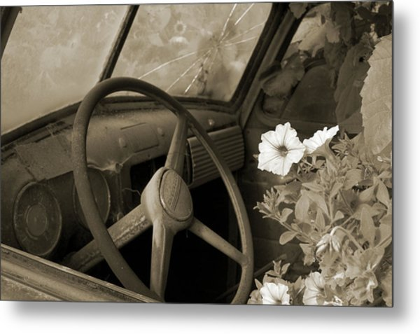 Driving Flowers Metal Print