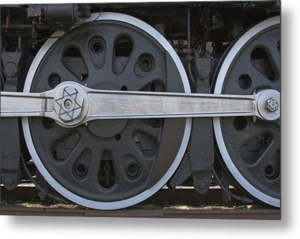 Driving Wheel On Vintage Train Metal Print