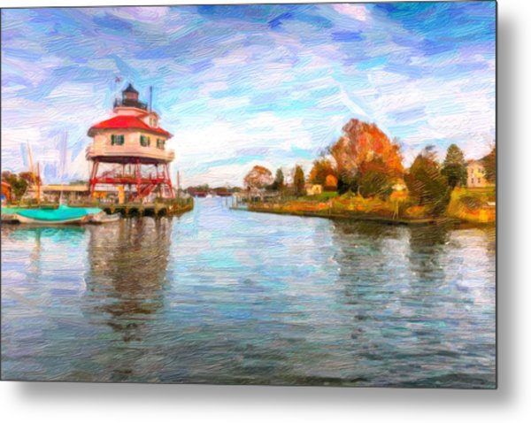 Drum Poiint Lighthouse Oil Abstract Metal Print