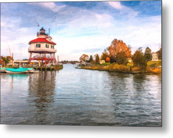 Drum Poiint Lighthouse Oil Painting Metal Print
