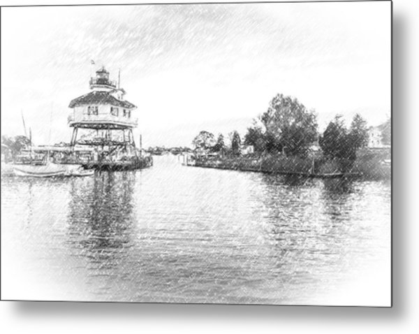 Drum Poiint Lighthouse Pencil Sketch Metal Print