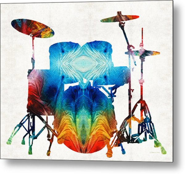 Drum Set Art - Color Fusion Drums - By Sharon Cummings Metal Print