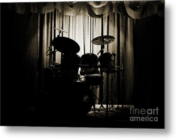 Drum Set On Stage Photograph Combo Jazz Sepia 3234.01 Metal Print