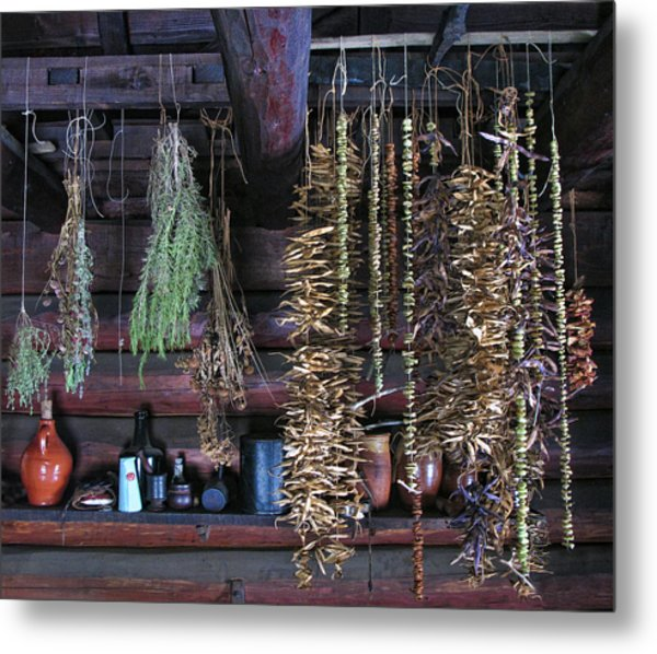 Drying Herbs And Vegetables In Williamsburg Metal Print